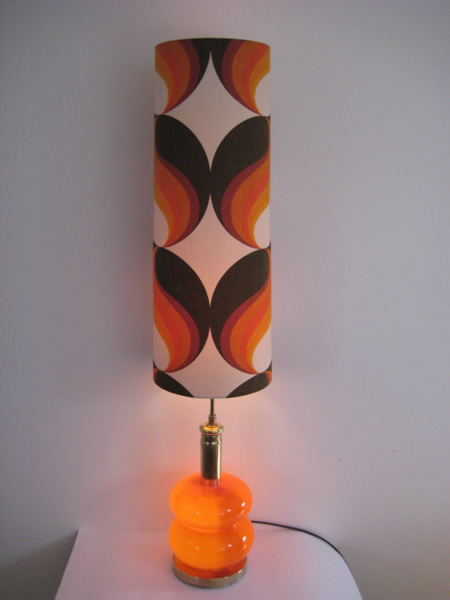 1960s glass floor lamp with stunning vintage shade