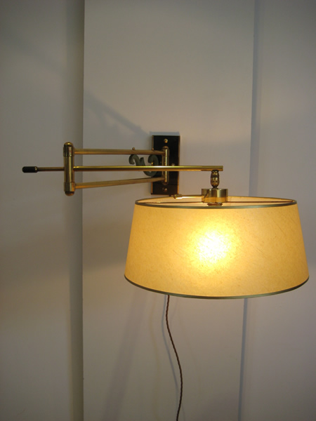 Hinged Brass Wall Lights : 1950s French wall lamp